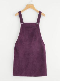 Preppy Pinafore Plain Straight Loose Straps Sleeveless Natural Purple Short Length Pocket Front Overall Corduroy Dress