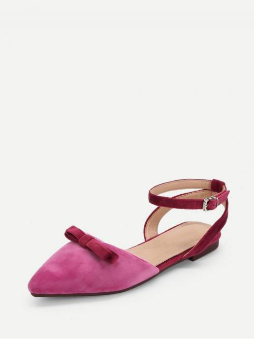 Shearling Pink Mules Bow Knot Detail Pointed Toe Flats Ladies