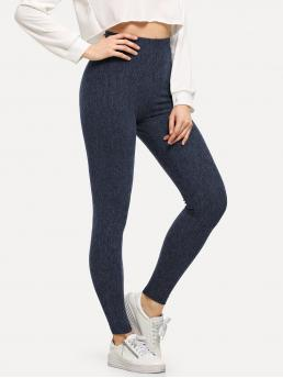 Basics Regular Plain Navy Long Length High Waist Heathered Knit Leggings