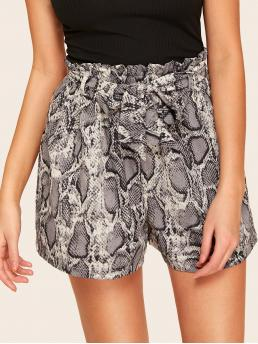 Casual Snakeskin Print Wide Leg Regular Elastic Waist High Waist Multicolor Snakeskin Print Self Tie Paperbag Shorts with Belt