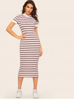 Preppy Bodycon Striped Slim Fit Round Neck Short Sleeve Regular Sleeve Natural Multicolor Long Length Contrast Neck and Cuff Striped Pencil Dress