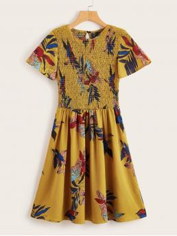 Casual Floral Flared Regular Fit Round Neck Short Sleeve Natural Yellow Short Length Floral Print Shirred Dress