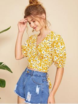 Boho Ditsy Floral Wrap Top Regular Fit V neck Half Sleeve Puff Sleeve Pullovers Yellow Crop Length Ditsy Floral Tie Back Wrap Crop Top with Belt