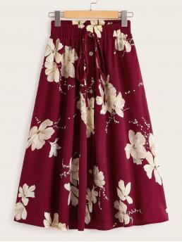 Casual A Line Floral High Waist Burgundy Midi Length Floral Print Knot Button Front Skirt