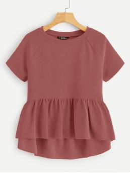 Cute Plain Asymmetrical and Flared Peplum Regular Fit Round Neck Short Sleeve Pullovers Red Regular Length Solid Raglan Sleeve Peplum Top