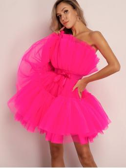 Glamorous Fit and Flare Plain Layered/Tiered Regular Fit Strapless Sleeveless High Waist Pink and Bright Short Length Joyfunear Bow Front Layered Mesh Tube Dress with Lining