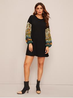 Casual Tee Tribal Straight Loose Round Neck Long Sleeve Bishop Sleeve Natural Black Short Length Tribal Print Lantern Sleeve Rib-knit Dress