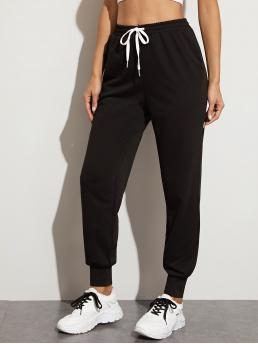 Sporty Plain Sweatpant Regular Drawstring Waist Mid Waist Black Long Length Drawstring Waist Slant Pocket Sweatpants