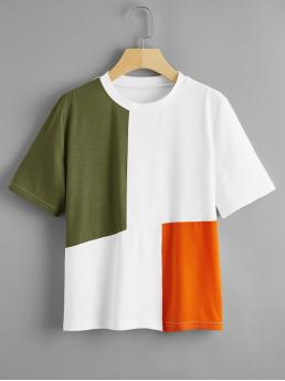 Casual Colorblock Regular Fit Round Neck Short Sleeve Regular Sleeve Pullovers Multicolor Regular Length Cut And Sew Round Neck Tee