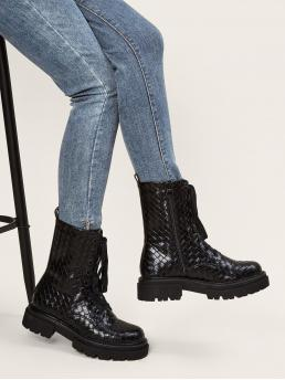 Black Combat Boots Low Heel Chunky Braided Lace-up Front Combat Boots Pretty