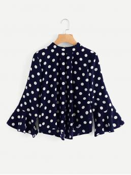Casual Polka Dot Top Regular Fit Stand Collar Long Sleeve Flounce Sleeve Navy Fluted Sleeve Polka Dot Pleated Front Blouse