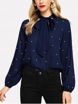 Elegant Plain Top Regular Fit Stand Collar Long Sleeve Bishop Sleeve Pullovers Navy Regular Length Tie Neck Faux Pearl Decor Blouse