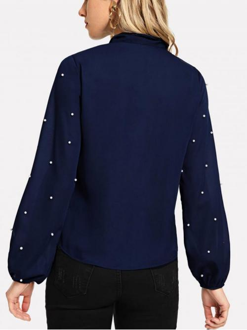 Ladies Long Sleeve Top Beaded Polyester Faux Pearl Decor Blouse