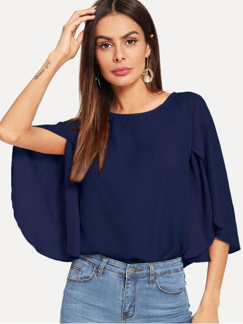 Fashion Half Sleeve Top Split Polyester Solid Cape Top