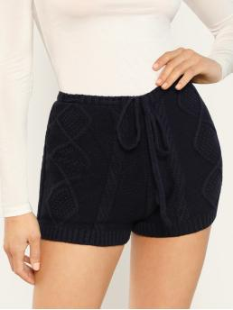 Casual Plain Regular Elastic Waist High Waist Navy Drawstring Waist Cable Knit Biker Shorts