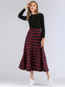 Preppy A Line Plaid Mid Waist Red Long/Full Length Plaid Button Through Ruffle Hem Skirt