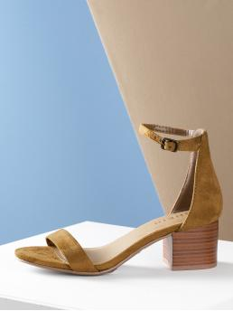 Business Casual Ankle strap Brown Mid Heel Chunky Open Toe Chunky Heel Ankle Strap Sandal