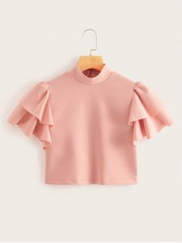 Casual Plain Top Regular Fit Stand Collar Short Sleeve Layered Sleeve and Butterfly Sleeve Pullovers Pink Crop Length Mock-neck Ruffle Trim Crop Top