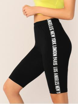 Sporty Biker Shorts Letter Black Lettering Tape Side Cycling Shorts