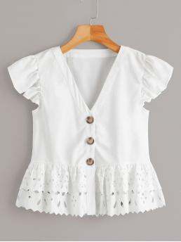 Cute Plain Peplum Regular Fit V neck Cap Sleeve Placket White Regular Length Button Through Laser Cut Hem Blouse