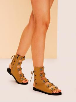 Comfort Gladiator Sandals Open Toe Plain Gladiator and Ankle Strap Brown Cut Out Lace-up Flat Sandals