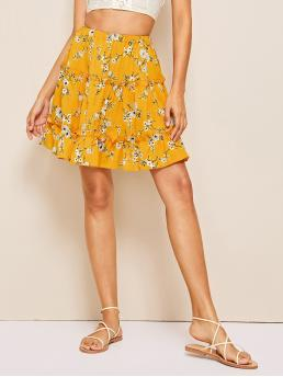 Boho Flared Ditsy Floral High Waist Yellow Above Knee/Short Length Ditsy Floral Print Skirt