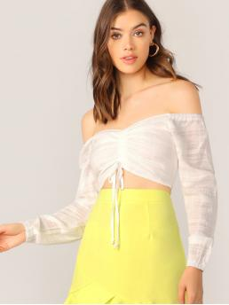 Sexy Plain Regular Fit Off the Shoulder Long Sleeve Regular Sleeve Pullovers White Crop Length Cold Shoulder Ruched Front Long Sleeve Crop Top