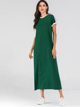 Casual Tee Plain Straight Loose Round Neck Short Sleeve Regular Sleeve Natural Green Long Length Striped Tape Side Ringer Tee Dress