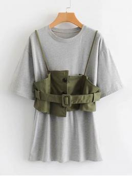 Casual Tee Round Neck Short Sleeve Multicolor Short Length Dress With Button Front Belted Cami Top with Belt