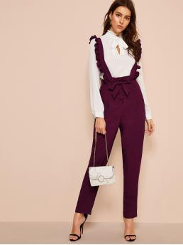 Preppy Plain Straight Leg Regular Button Fly High Waist Burgundy Long Length Tie Waist Pants With Ruffle Straps with Belt
