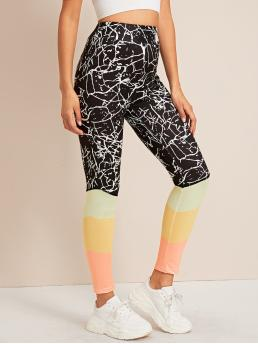 Sporty Regular Colorblock and Graphic Multicolor Long Length Color-block Wideband Waist Leggings