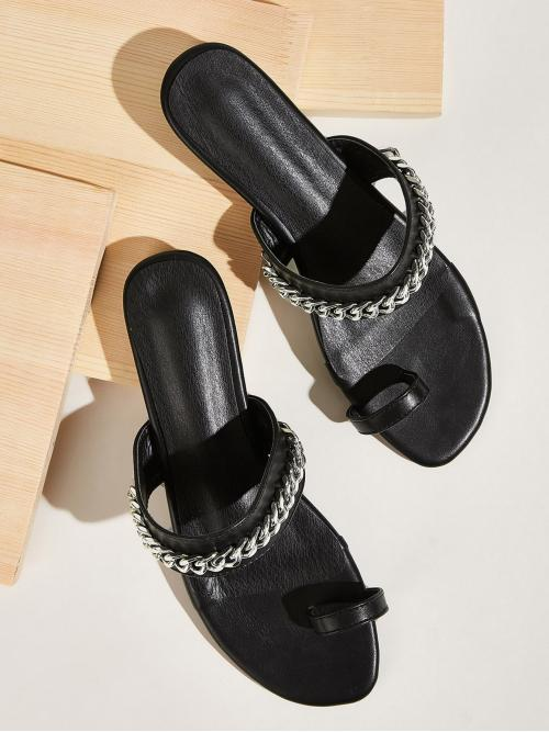 Comfort Open Toe Black Toe Ring Chain Decor Flat Sliders
