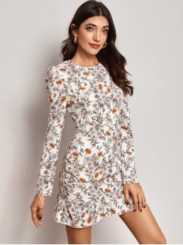 Boho Fitted Floral Flounce Regular Fit Round Neck Long Sleeve Leg-of-mutton Sleeve High Waist Multicolor Short Length Ruffle Hem Gigot Sleeve Floral Fitted Dress