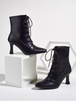 Discount Black Ultra High Heel Sculptural Heels Point Toe Lace-up Front