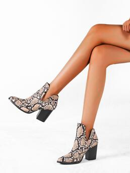 Multicolor High Heel Chunky Point Toe Snakeskin Pattern Boots Sale
