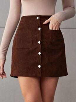 Coffee Brown High Waist Button Front Straight Double Single Breasted Skirt on Sale