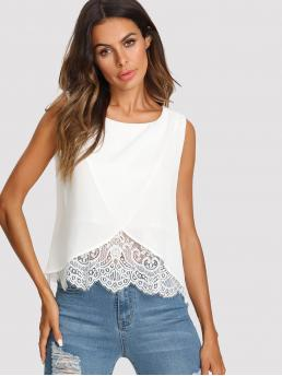 Casual Tank Plain Regular Fit Round Neck White Regular Length Lace Insert Surplice Front Top with Lining