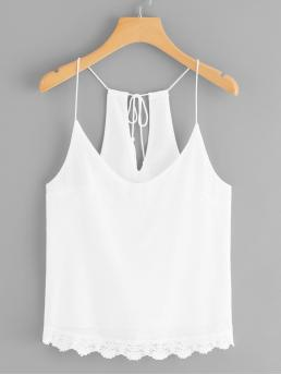 Casual Cami Plain Regular Fit Spaghetti Strap White Lace Crochet Trim Tassel Tie Cami Top with Lining