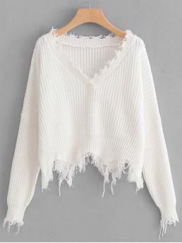 Long Sleeve Pullovers Fringe Plain Frayed Trim Sweater Clearance