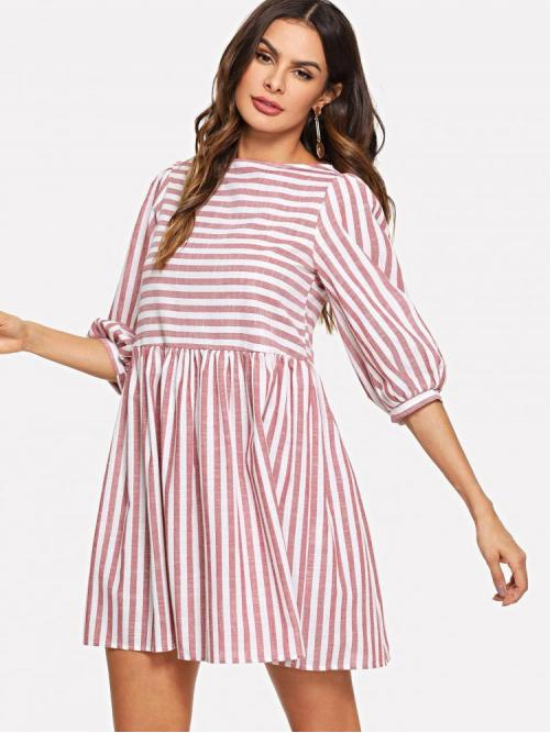 Pink Striped Sheer Round Neck Dress on Sale
