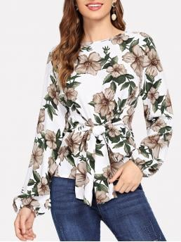 Elegant Floral Top Regular Fit Boat Neck Long Sleeve Bishop Sleeve Pullovers White Regular Length Floral Print Knot Detail Blouse
