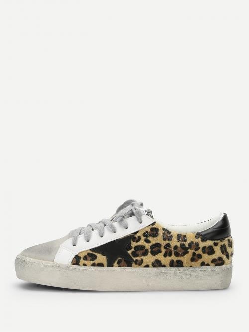 Skate Shoes Round Toe Leopard Multicolor Leopard Print Lace Up Sneakers