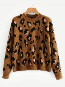 Casual Leopard Pullovers Regular Fit Round Neck Long Sleeve Pullovers Brown Regular Length Drop Shoulder Leopard Print Sweater