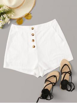 Casual Plain Straight Leg Regular Button Fly Mid Waist White Button Placket Pocket Side Shorts