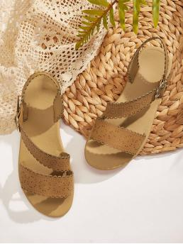 Boho Open Toe Brown Hollow Out Scalloped Trim Sandals