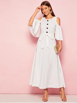 Elegant A Line Plain Flared Regular Fit Round Neck Three Quarter Length Sleeve Cloak Sleeve Natural White Long Length Cold Shoulder Buttoned Self Belted Dress with Belt
