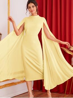 Glamorous Fitted Plain Pencil Slim Fit Stand Collar Cloak Sleeve High Waist Yellow and Pastel Long Length Mock-Neck Exaggerated Split Sleeve Fitted Dress