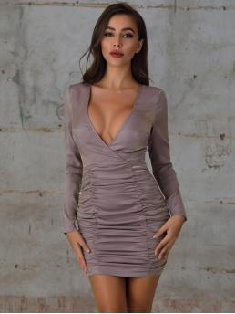 Glamorous and Sexy Bodycon Plain Pencil Regular Fit Deep V Neck Long Sleeve Regular Sleeve High Waist Purple Short Length Double Crazy Plunging Neck Ruched Zip Back Bodycon Dress