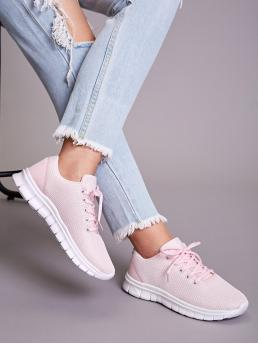 Comfort Almond Toe Pink Lace-up Front Wide Fit Sneakers