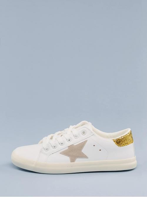 Comfort Round Toe White Lace Front Glitter Detail Low Top Sneakers